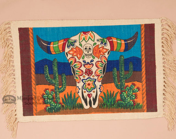 Cotton Day of the Dead Placemat -Skull