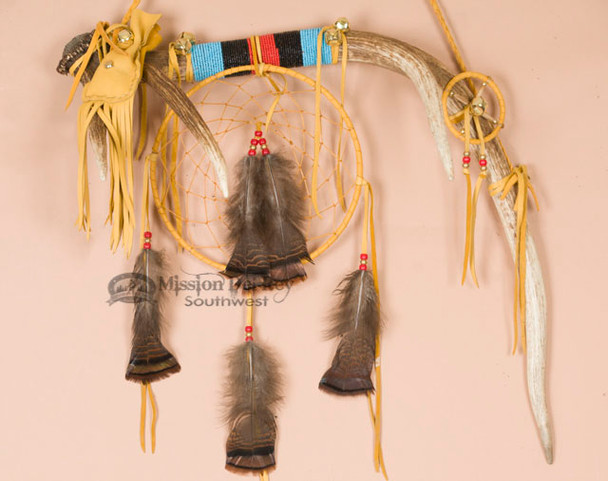 Tigua Indian Dreamcatcher Spirit Stick - Elk Antler