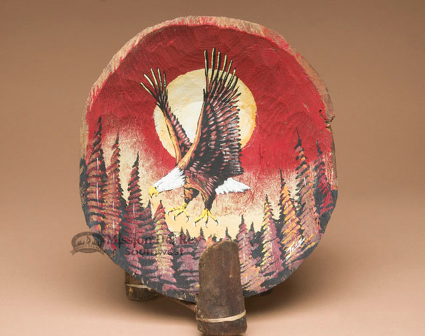 Painted Wooden Bowl & Stand -Moonlit Eagle