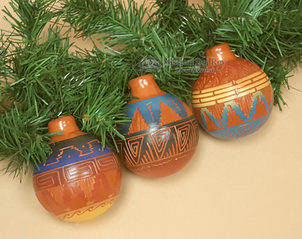 Native American Pottery Ornaments - Etched