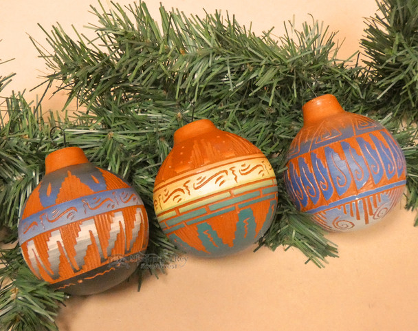 Native American Pottery Ornaments - Hand Etched