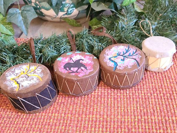 3 Piece Hand Painted Drum Ornament Set