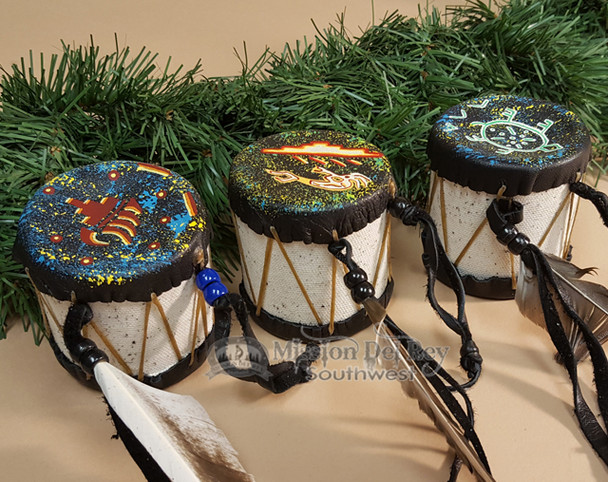 Hand Painted Drum Ornament Set