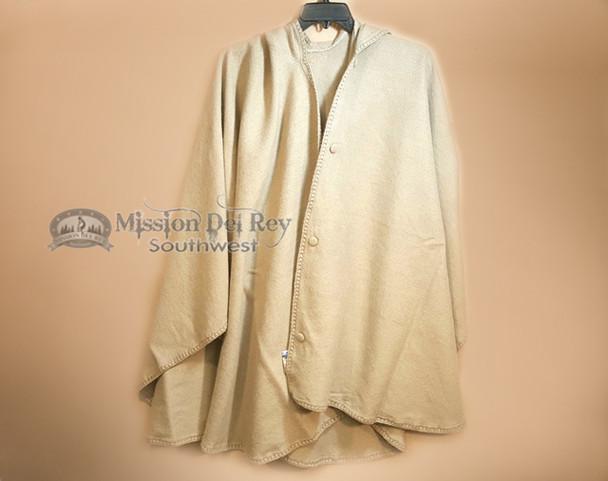 Hooded Southwestern Woven Wool Cape -Tan