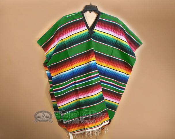 Mexican Style Serape Poncho -Green