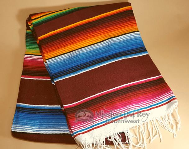 Southwest Mexican Serape Blanket 5'x7' -Burgundy