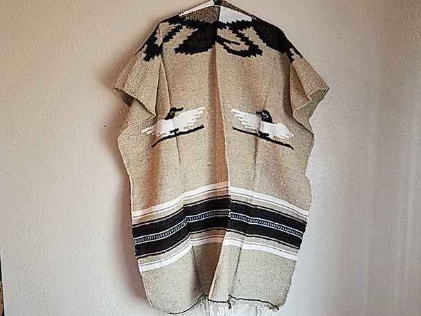 Mexican Style Blanket Poncho -Tan