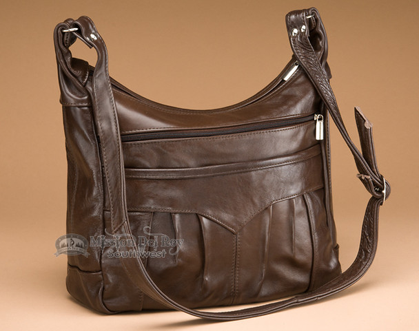Cowhide Leather Concealed Carry Purse -Brown