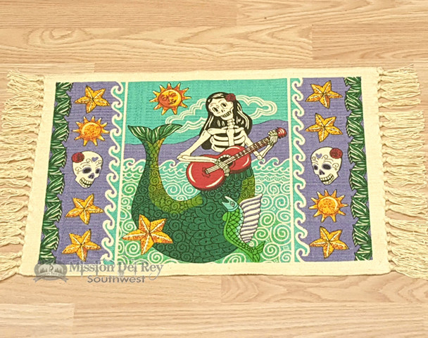 Day of The Dead Cotton Placemat 13x19 - Mermaid on Guitar