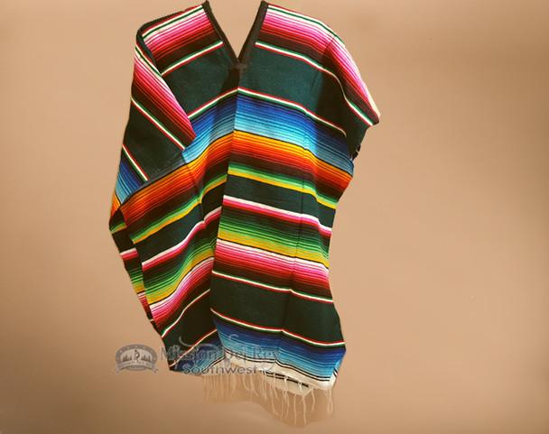 Mexican Style Serape Poncho - Green