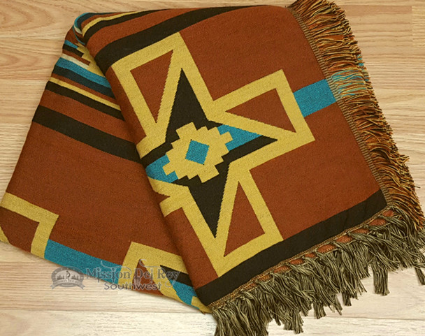 Throw Blanket With Fringe - Rust