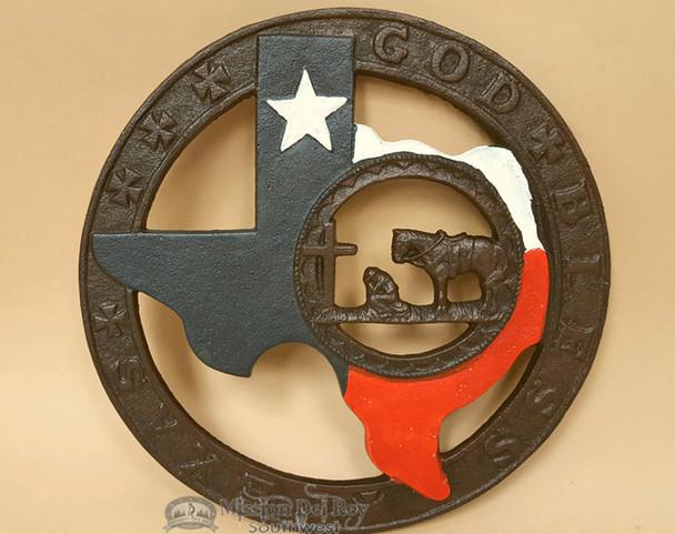 Rustic Cowboy at the Cross Metal Art Trivet -Texas