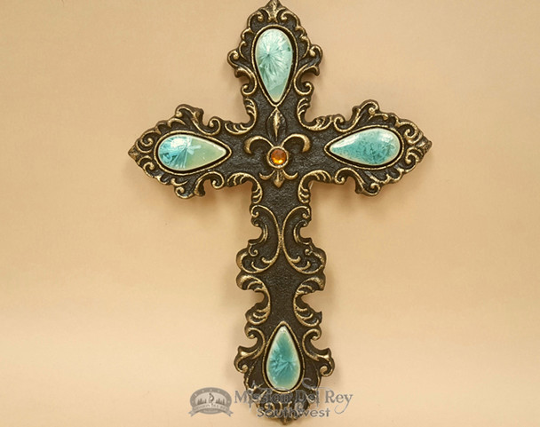 Southwest Metal Art Cross encrusted with Stones