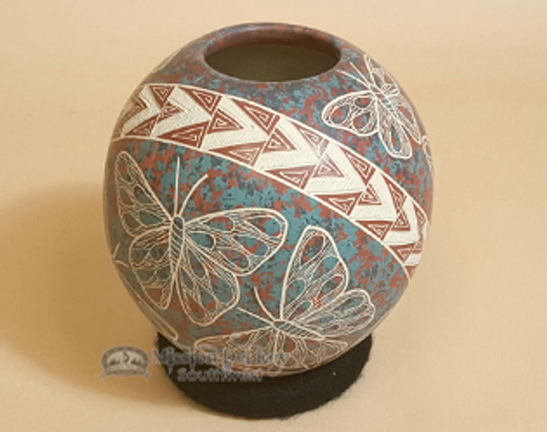 Mata Ortiz Butterfly Pottery Vase by Lupe Soto