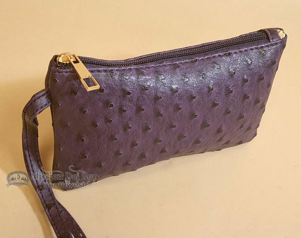 Southwestern Faux Leather Writlet Purse - Purple
