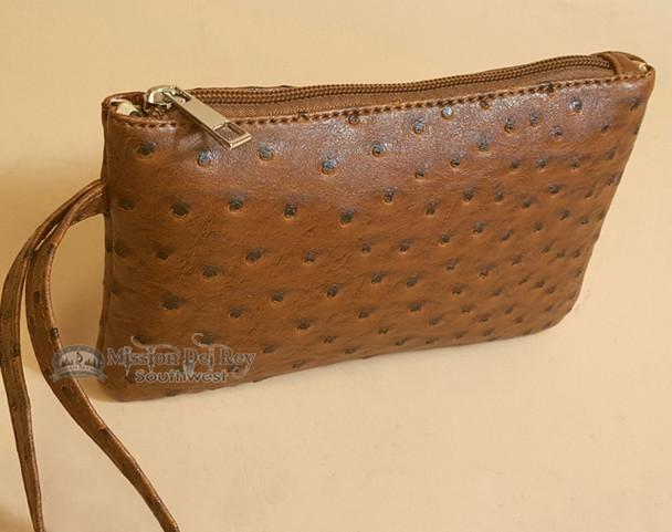 Southwestern Faux Leather Writlet Purse - Brown