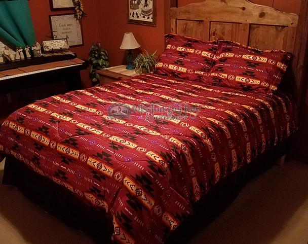 Southwestern Comforter Bed Set -Red