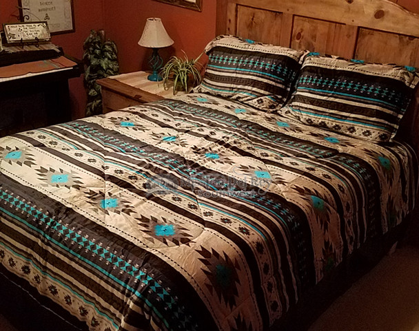 Southwestern Sherpa Comforter Bed Set -Tan & Turquoise