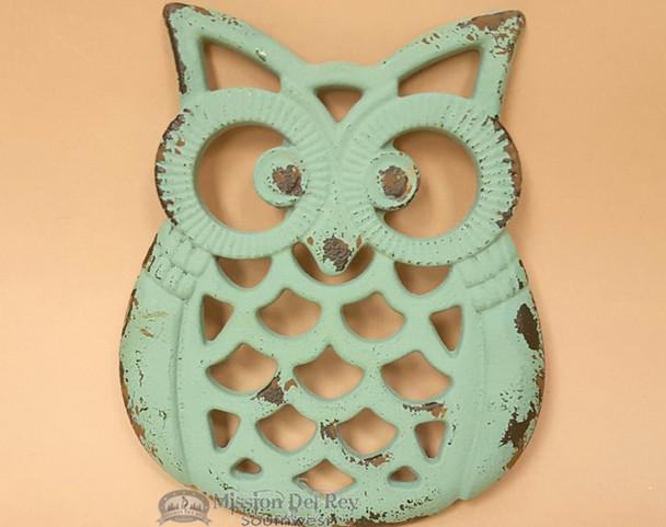 Rustic Metal Art Owl Trivet