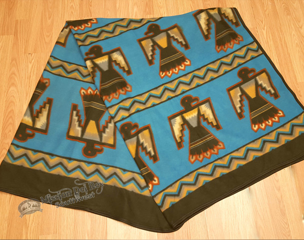 Southwestern Fleece Lodge Blanket - Blue Thunderbird