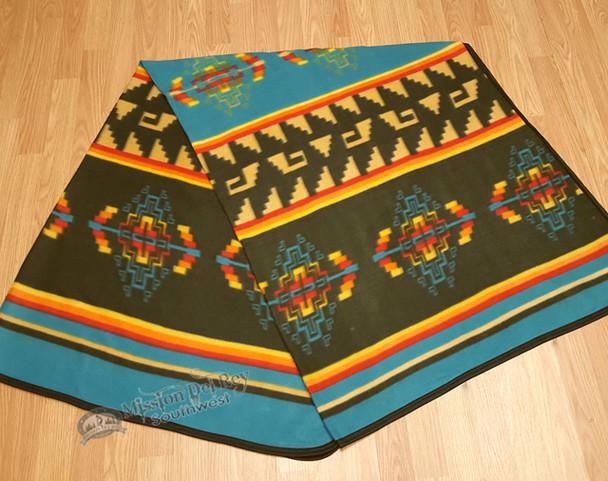 Rustic Southwestern Fleece Lodge Blanket - Turquoise