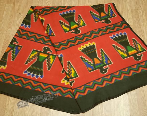 Western Fleece Lodge Blanket - Red Thunderbird