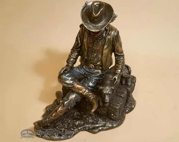 Southwestern Bronze Sculpture - Cowboy and Dog