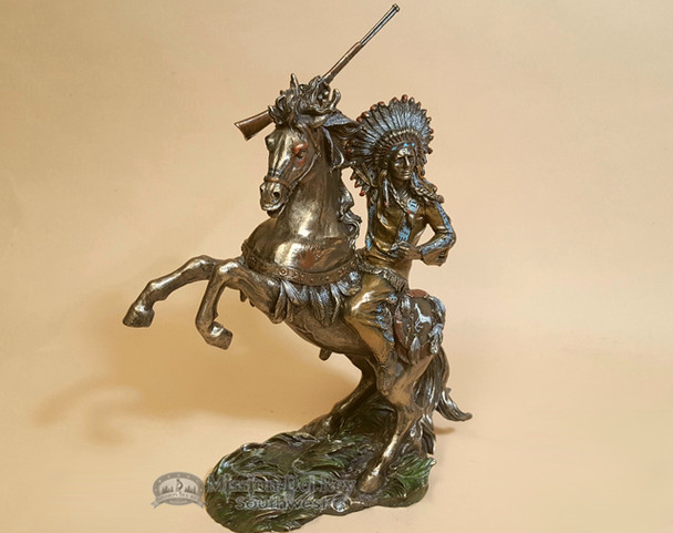 """Rustic Southwestern Bronze Statue 13"""" - Sioux Chief on Horse"""