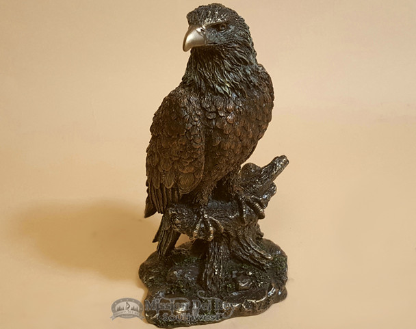 """Bronze Rustic Western Statue 9"""" - Bald Eagle Perched on Tree"""