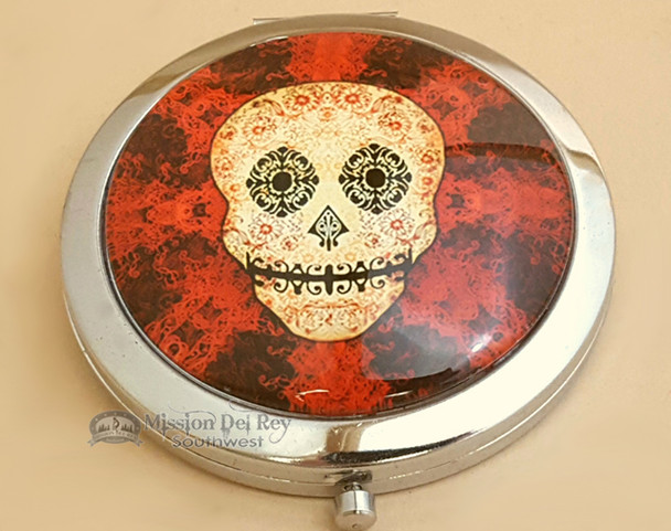 "Round Day of The Dead Double Mirror 3"" - Red"