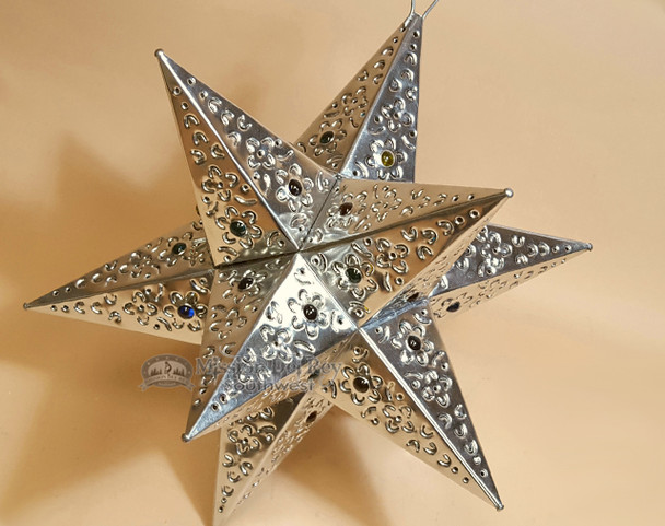"Handcrafted Tin Hanging Metal Art 15"" -Star"