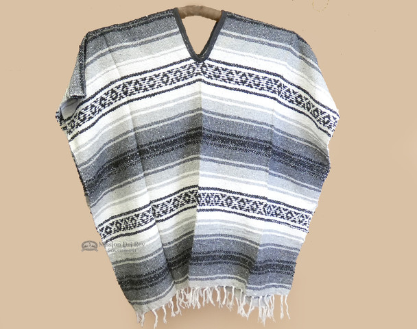Mexican Falsa Poncho - Black & Gray