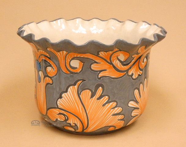 Mexican Hand Painted Talavera Pot - Grey