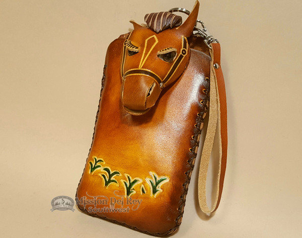 Southwestern Hand Tooled Leather Phone Case - Tan Horse