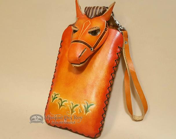 Southwestern Hand Tooled Leather Phone Case - Orange Horse