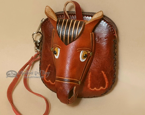 Southwestern Hand Tooled Leather Coin Purse - Tan Horse