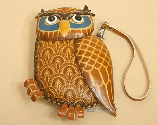 Southwestern Hand Tooled Leather Coin Purse - Standing Owl (p547)