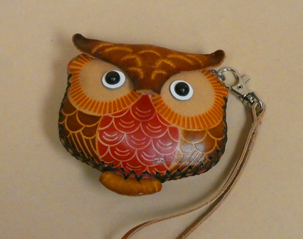 Rustic Western Hand Tooled Leather Coin Purse - Owl Head