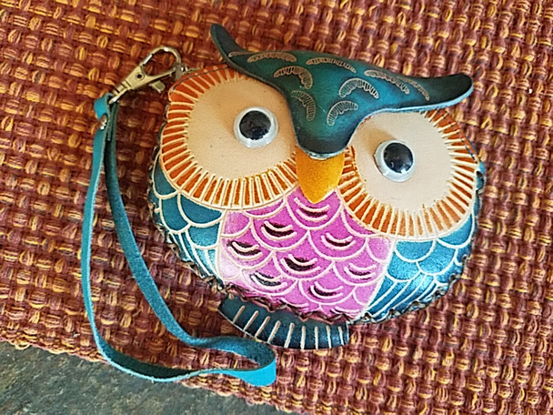 Western Hand Tooled Leather Coin Purse - Owl