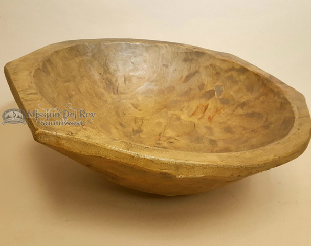 Large Rustic Southwest Carved Wooden Bowl -Round With Handles