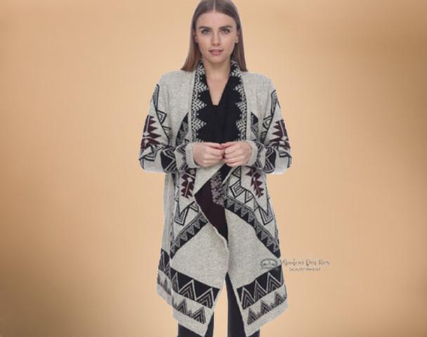 Southwestern Cream Color Cardigan - Medium