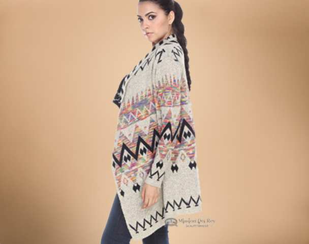 Multi-color Southwestern Design Sweater - Medium