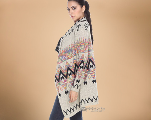 Multi-color Southwestern Design Cardigan Sweater - Large