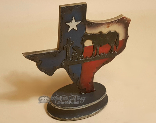 Western Plaque With Built In Stand - Texas