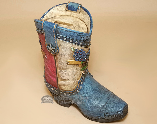 Western Style Bank - Texas Cowboy Boot & Blue Bonnets