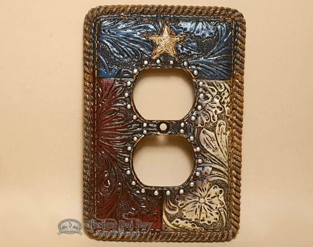 Rustic Western Style Outlet Cover Plate - Texas