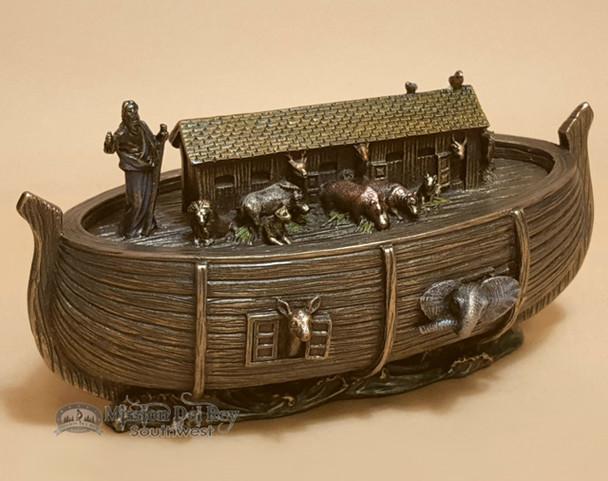 """Bronze Metal Art Trinket Box 6.75"""" - Noah's Ark"""