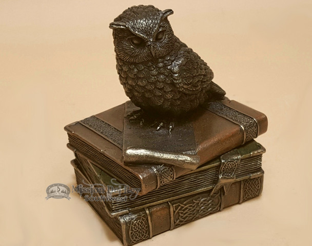 Bronze Southwest Metal Art/Trinket Box - Owl on Books