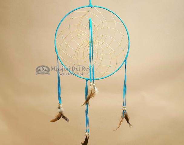 "Hand Woven Navajo Dream Catcher 12"" -Turquoise"