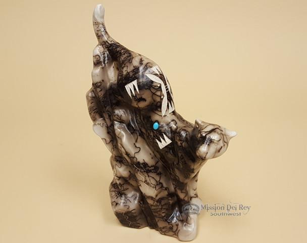 Navajo Horse Hair Pottery Mountain Lion